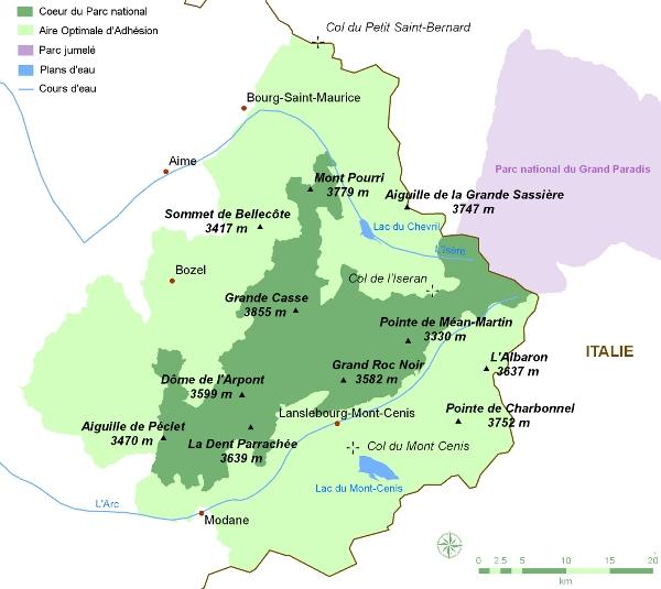 Carte du parc dela Vanoise
